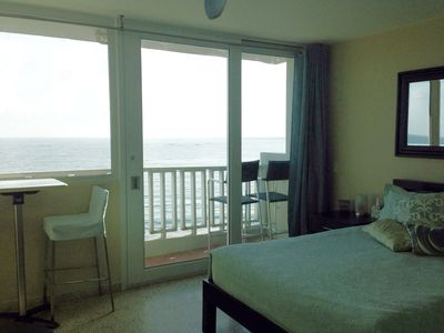 Windowed sliding doors allow for  gorgeous ocean views from the bed...