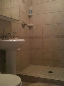 Harrisville house rental - Downstairs bathroom with large shower