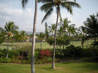 Golf course view from your huge, wrap around lanai. Nice and quiet location.