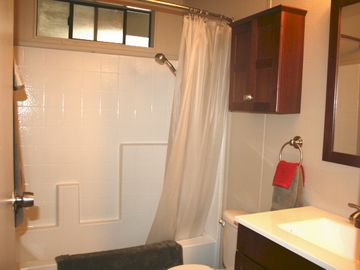 Full guest bathroom with a tub/shower combination