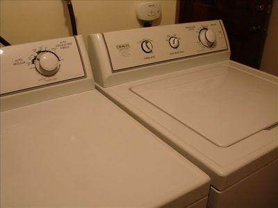 Full size washer and dryer for all your ski and hiking clothes