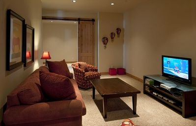 Kids media room with large DVD library; xBox 360 console and games, too!