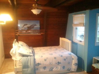 Blue Bedroom in evening.