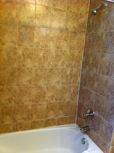 Tiled tub & shower in main bathroom.