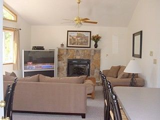 Lake Harmony house photo - Great room with fireplace and 57 inch TV
