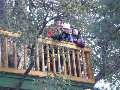fun for the kids, you dont have to constantly entertain (treehouse with slide