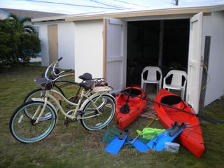 Cherokee Sound property rental photo - Storage shed with 2 kayaks 2 bikes and room for your gear