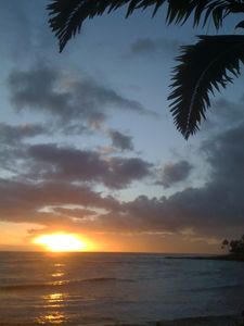 A typical evening Pacific Sunset as seen from Beachhouse #5's private lanai.