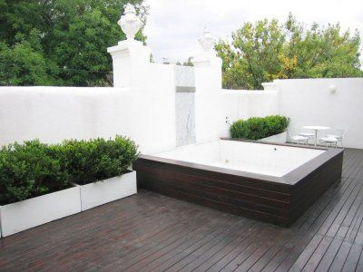 40m2 decked terrace: dipping pool, marble topped bistro table, 2 sun loungers