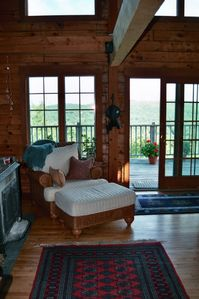 Favorite Wicker Chair, Ottoman, Wraparound Porch