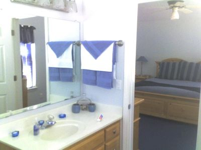 """Route 66 Vacation Home Bathroom with his & her sinks and large walk in closet"