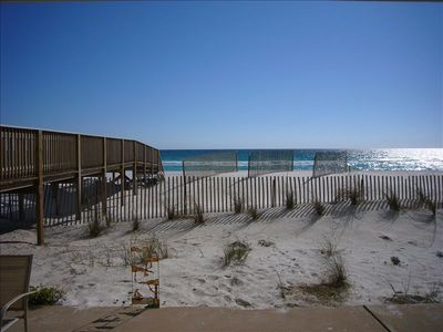 Walk directly outside for a stroll on the beach! The view from the patio