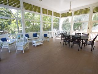 Folly Beach house photo - Huge screened porch for dinners and relaxing on beautiful folly nights.