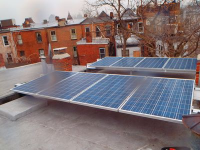 Capitol Hill townhome rental - Solar panels, out of sight on the roof but quietly reducing your footprint.