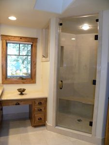 Master Bath #1, including the steam shower, has marble floors and counter tops.