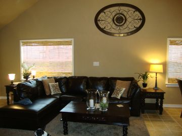 Plenty of seating in the living room for all of your guests.