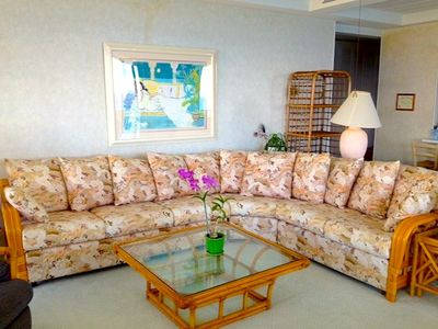 This beautiful living room couch is as comfortable as it is spacious.