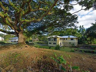 Hilo house photo - House (white roof) overlooking Richardson's Beach Park. Best snorkeling/swim