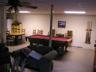 Down stairs bonus room with pool table