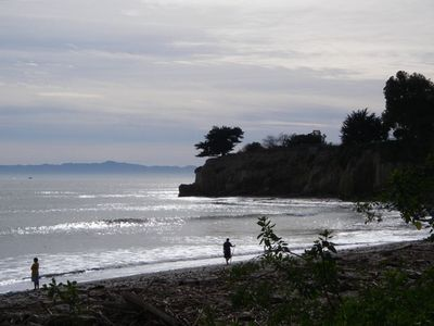 Surfers point at Leadbetter Beach