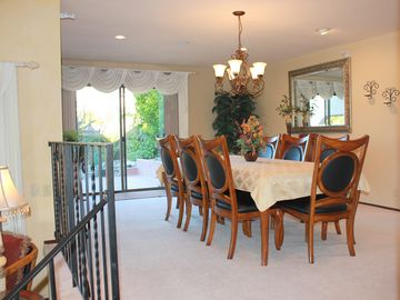 West Coast Villa Formal Dining Room overlooking gardens