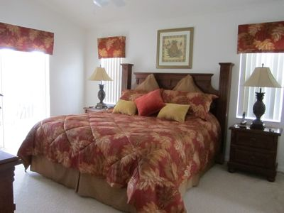 Master Bedroom, walk in wardrobe, large Ensuite Patio doors to Pool. TV & phone.