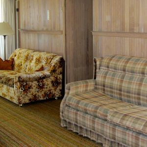 Sofa sleepers in living room of Cottage #3, sleeps 4