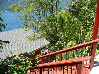 New cedar stairway from road to house providing you a lake view with every step.