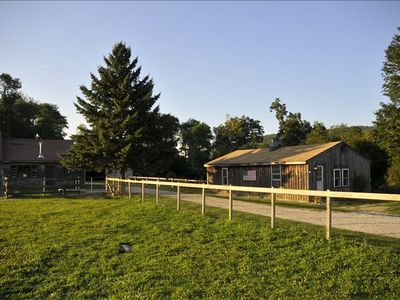 View of the barn (left) and the bunkhouse from the main pasture