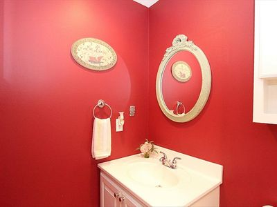 Capitol Hill house rental - Front Hall Bath has a walk-in shower. Laundry stack in the Upper Hall.