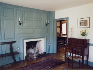 Wellfleet house photo - Living room with fireplace