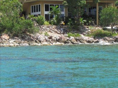 View of your caribbean suite from the ocean! Best tropical fish snorkeling!