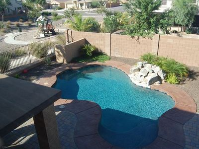 Back yard, patio, and pool