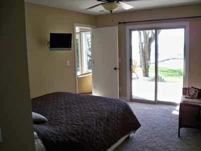 Master bedroom looks out onto the lake.
