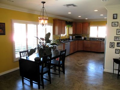 Dining room and kitchen with a view of the San Fernando Valley.