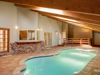 Indoor pool and spa at beautiful lakeside homeaway big bear lake for 8 bedroom cabin with indoor pool