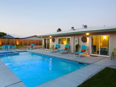 Pool at dusk - Large, brand new 16'x36' pool and spa