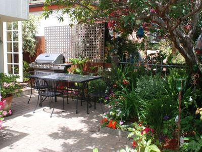 Propane grill, outdoor garden seating