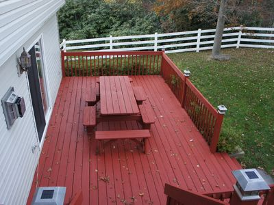 Double deck with a beautiful custom built picnic table!