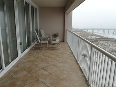 Spacious 8X30' balcony directly on the beautiful Gulf of Mexico