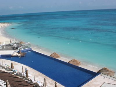 Balcony view of the infinity pool