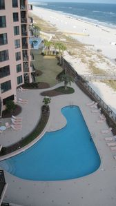 View from the balcony overlooking the East Tower pool