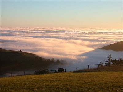 This deck photo shows being above the fog that sometimes settles in Jenner