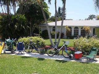 Vacation Homes in Marco Island house photo - Bikes, chairs, carts, coolers, toys, we have it all! Plenty of beach towels too