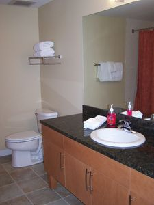 Second bathroom has shower/tub, fresh linens, is stocked with soap, shampoo, etc