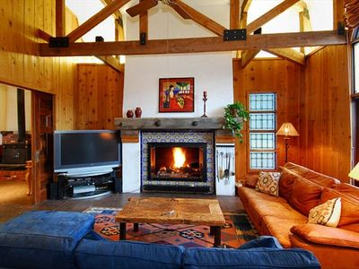 Living Room, Fireplace, TV  - Main Level Breckenridge vacation rental