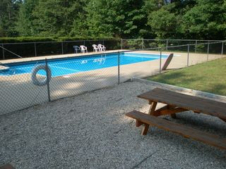 North Conway condo photo - Pool, with pool house and picnic area