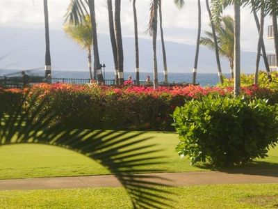Kaanapali condo rental - View across pool from living room to the ocean