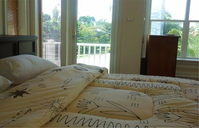 Rawai beach cottage rental - MASTER BED ROOM with Balcony