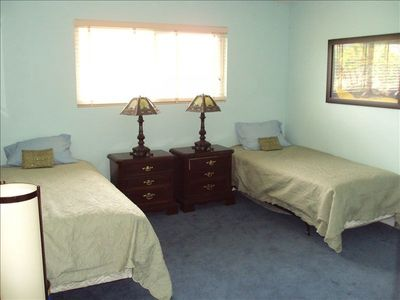 Third bedroom with mountain view has twin beds to accomodate your needs.